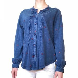 Pleated Embroidered Blue Button-Up Blouse